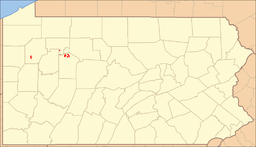 Location of Clear Creek State Forest in Pennsylvania