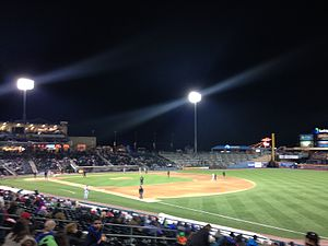 Coca-Cola Park (Allentown) - A night view of the park from the right field seats