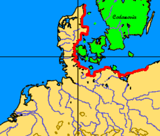 Pomponius Mela - The shores of Codanus sinus (southwestern Baltic Sea) in red with its many islands in green.