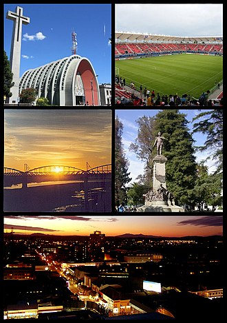 Chillán - Clockwise, from top: Cathedral of Chillán, Nelson Oyarzún Arenas Stadium, puente ferroviario de Ñuble, Statue of Bernardo O'Higgins, panoramic view of the city at sunset.
