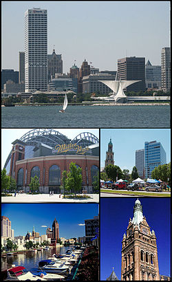 Tap: Milwaukee Skyline, Center Left Miller Park, Center Richt Cathedral o St. John the Evangelist, Lawer Left Milwaukee River, Lawer Richt Milwaukee Ceety Haw