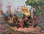 איור המתאר את קולומבוס תובע בעלות על אדמת אמריקה