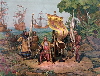 Spanish diaspora - Columbus and his crew arriving in the New World.