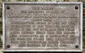 Clifton Suspension Bridge - The plaque on the bridge