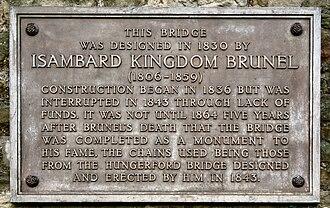 Clifton Suspension Bridge - The plaque on the bridge