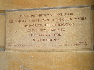 City Temple, London - Plaque outside The City Temple, commemorating the rededication in 1958