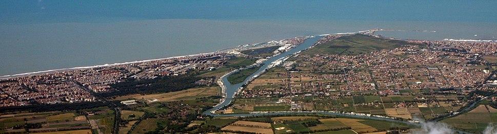 Comune di Fiumicino and the Tiber River, near Rome