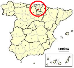 Location of the exclave of Treviño (in red) within Spain.