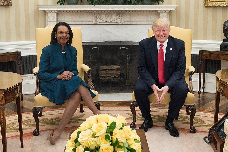 Condoleezza Rice and Donald Trump in the Oval Office, March 2017