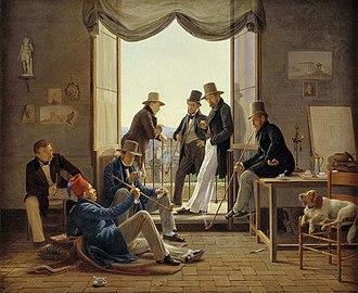Albert Küchler - Image: Constantin Hansen 1837 Et selskab af danske kunstnere i Rom edit 1