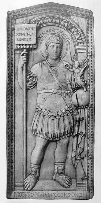 Fall of the Western Roman Empire - The emperor Honorius, a contemporary depiction on a consular diptych issued by Anicius Petronius Probus to celebrate Probus's consulship in 406, now in the Aosta museum