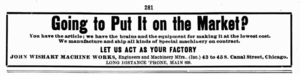 Contract manufacturer - An advertisement for contract manufacturing services, in Popular Mechanics, 1905.