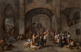 Badge of shame - Depiction of barefooted and partly fettered prisoners by Cornelis de Wael; To Visit the Imprisoned c. 1640