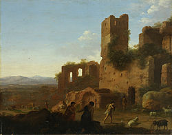 Корнелис ван Пуленбург: Landscape with figures and ruins