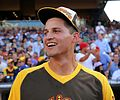 Cory Seager is in awe of Giancarlo Stanton's performance during the T-Mobile -HRDerby. (27959279324).jpg