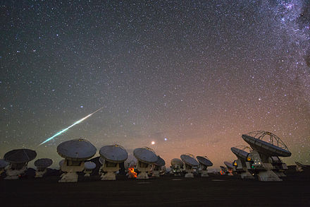 Meteor seen from the site of the Atacama Large Millimeter Array.[19] - Meteoroid