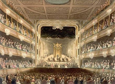 The old Covent Garden theatre, site of the English premiere in 1800. Engraving from 1808. Covert Garden Theatre edited.jpg