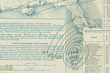 "A weather map focused on the eastern Gulf of Mexico depicting a storm system on the north shore of Cuba. The storm is denoted by the word ""LOW"" surrounded by numerous circular lines known as isobars."