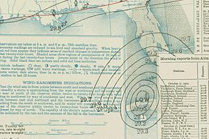 1910 Atlantic hurricane season - Image: Cuba hurricane 1910 10 17 weather map