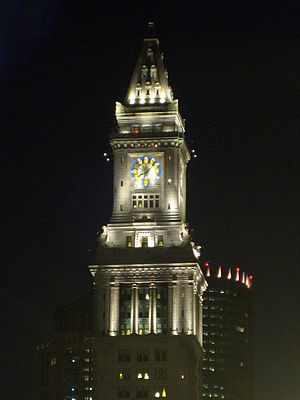 Custom House Tower - The Custom House Tower illuminated at night.
