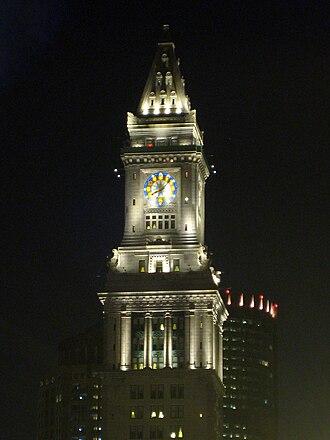 Custom House Tower - The Custom House Tower illuminated at night.