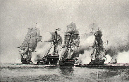 Cybele and Prudente fighting HMS Centurion and HMS Diomede, by Durand Brager Cybele and Prudente vs English ship and frigate 22 dec 1794-Durand Brager img 3104.jpg