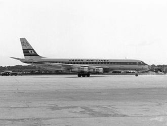 Japan Airlines - JAL's first jet, the Douglas DC-8, named Yoshino, in 1960