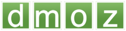 """dmoz"" in white on a green backgrund wi each letter in a separate squerr"