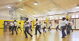 Let's Move! - Students at the Oconaluftee Job Corps Civilian Conservation Center in Cherokee practice their choreography for a new student-produced fitness video