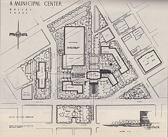 Dallas City Hall - City plans from 1946 called for a grand Beaux-Arts municipal center in Downtown Dallas
