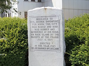 George Davenport - George Davenport Monument on the Scott County Courthouse grounds in Davenport, Iowa