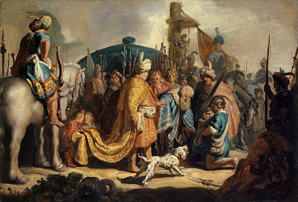 David con la cabeza de Goliat delante de Saúl, por Rembrandt
