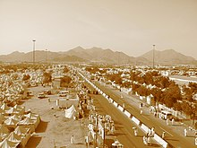 Religious pilgrims on the Plains of Arafat during the Hajj outside of Mecca, Saudi Arabia.
