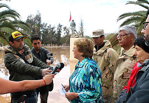 2015 Northern Chile floods and mudflow - President Michelle Bachelet visiting the affected area