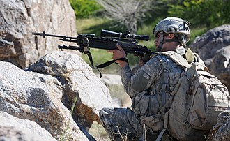 Mk 14 Enhanced Battle Rifle - Image: Defense.gov News Photo 100612 A 1619C 223 U.S. Army Spc. Michael Rockwell a combat infantryman with 1st Platoon Delta Company 1st Battalion 4th Infantry Regiment U.S. Army Europe