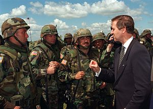 California Army National Guard - Secretary of Defense William Cohen talks with soldiers from a California Army National Guard