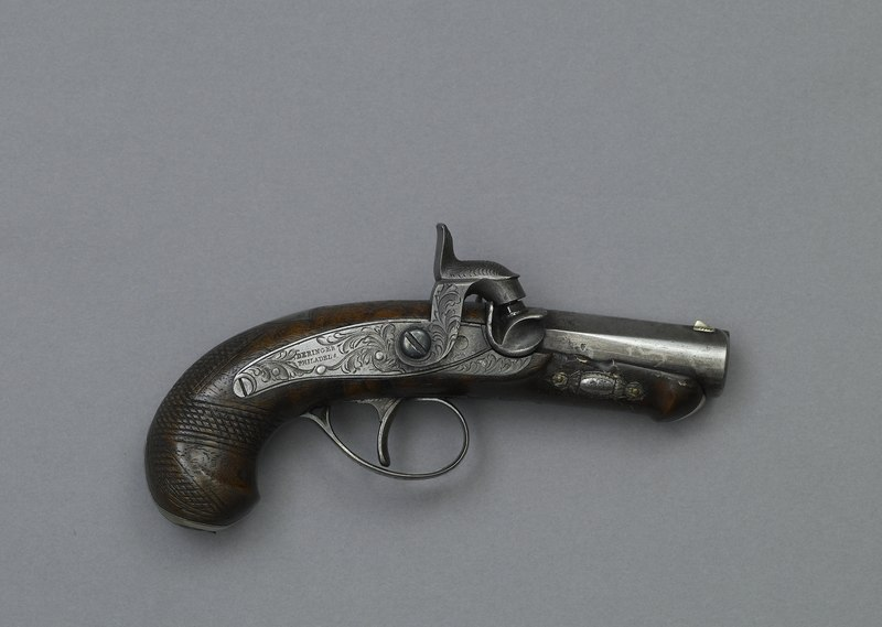 Derringer gun John Wilkes Booth used to assassinate Abraham Lincoln.) Artifact in the museum collection, National Park Service, Ford's Theatre National Historic Site, Washington, D.C LCCN2010630694