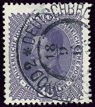 Havlíčkův Brod - Austrian 30 heller bilingual cancelled in 1918