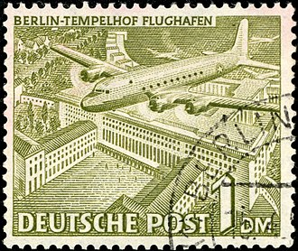 Berlin Tempelhof Airport - 1949 stamp from West Berlin with a Douglas C-54 Skymaster over Tempelhof airport