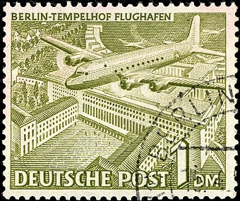 1949 stamp from West Berlin with a Douglas C-54 Skymaster over Tempelhof airport Deutsche Post - 1 Deutsche Mark.jpg