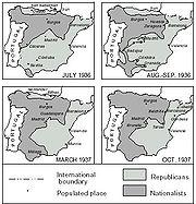 Postup fronty v období od července 1936 do října 1937