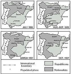 Vier Stadien des Frontverlaufs bis Oktober 1937