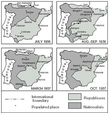 Course of the front in the first two years of the Spanish Civil War