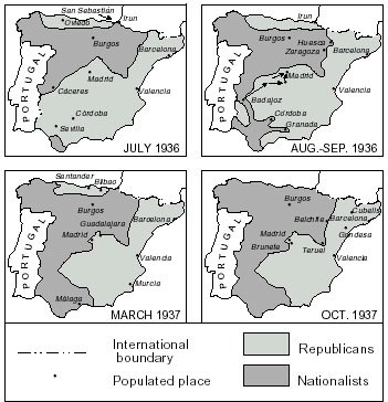 Development of the Spanish Civil War fronts
