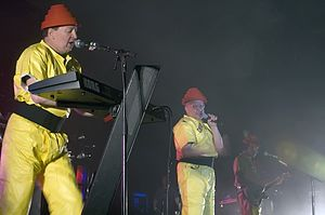 Gerald Casale - Devo performing live at Festival Hall, in Melbourne, Australia, 2008: Casale and Mark Mothersbaugh