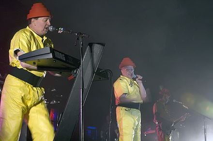 Devo performing live at Festival Hall, in Melbourne, Australia, 2008: Casale and Mark Mothersbaugh Devo two.jpg
