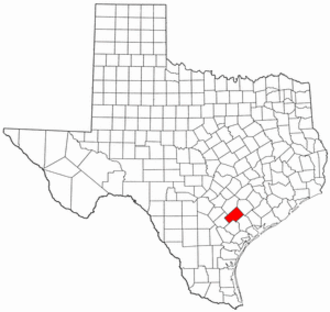 National Register of Historic Places listings in DeWitt County, Texas - Location of DeWitt County in Texas
