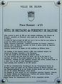 Dijon Hotel de BRETAGNE dit PERRENEY de BALEURE plaque information.jpg