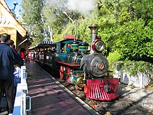 Amusement-park train with a replica steam engine