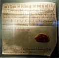 Document from Kaiser Heinrich III to nobleman Richolf, dated July 16, 1050, the first known reference to Nuremberg - Stadtmuseum Fembohaus - Nuremberg, Germany - DSC02082.jpg